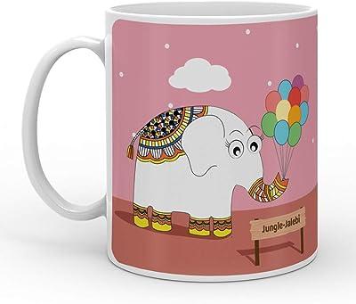 Indigifts Jungle-Jalebi Elephant with Balloons Printed Kids Coffee Mug 325 ML - Milk Mug, Tea Cup, Smoothies, Fruit, Juice, Mug for Kids, Cartoon Milk Mug for Kids, Animal Milk Mug
