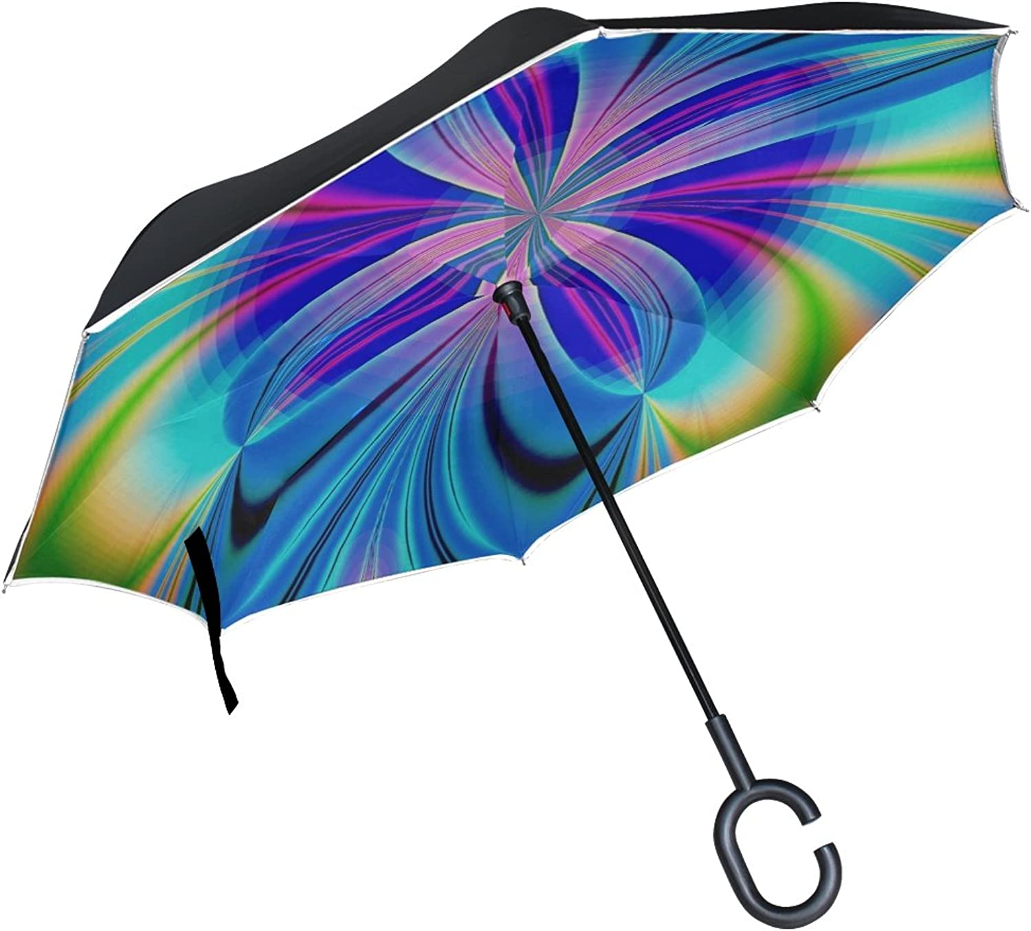 Double Layer Ingreened Abstract Art Design Digital Art Fractals color Umbrellas Reverse Folding Umbrella Windproof Uv Predection Big Straight Umbrella for Car Rain Outdoor with CShaped Handle