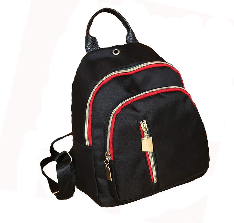 Nosterappou Female Retro Oxford Cloth Shoulder Bag color Strip Zipper MultiPurpose Backpack Soft Back Student Travel School Backpack Handbag Youth Wild Backpack