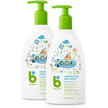 Babyganics Daily Lotion, Fragrance Free, 17oz, 2 Pack, Packaging May Vary