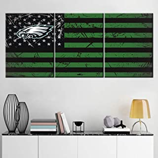 Wall Art for Living Room America Football Philadelphia Eagles Painting Patriotism USA Flag Pictures 3 Panel Prints Canvas Artwork Giclee Home Decor Wooden Framed Stretched Ready to Hang(60''Wx28''H)