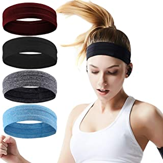 Workout Headbands for Women Men, Silicone Grip Non slip Yoga Hair Band, Stretchy Soft Running Wicking Head SweatBand Set, Elastic Exercise Hair wrap, Sports Fitness Gym