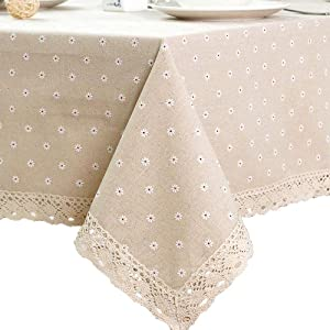 Table Cloth Daisy Floral Garden Tablecloth Home Heavy Weight Cotton Linen Dust-Proof Table Cover for Kitchen Dinning Tabletop Decoration(White Daisy Beige Fabric,55''x108'')