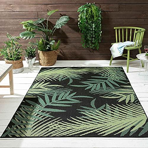 VIMODA Alfombra para interior y exterior para terrazas y balcones, diseño de palmeras, color negro, medidas: 80 x 150 cm