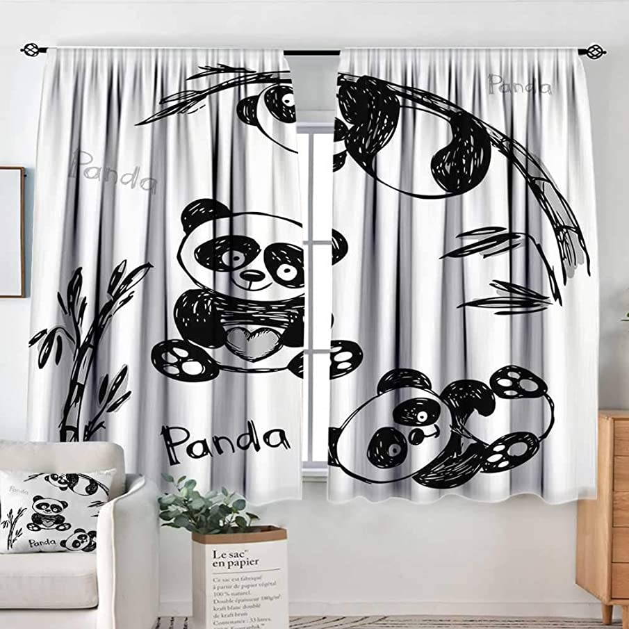 Elliot Dorothy Blackout Curtains for Bedroom Arrow,Cheerful Panda Different Poses with Bamboo Branch Children Painting Art Print,Black White,Darkening and Thermal Insulating Draperies 63