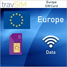 travSIM Three UK Prepaid Europe SIM Card 12GB Data, 3000 Minutes & 3000 Text Messages Valid for 30 Days – Free Roaming in 71+ Destination Countries Including Germany, France, Italy, Belgium, Spain