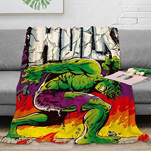 ARYAGO Incredible Hulk Plush Throw Blanket 130 x 180 cm, Avengers Superhero Hulk Comics Soft Plush Throw Blanket Anti-Static Lightweight Microfiber