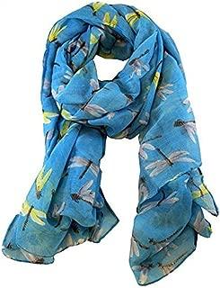 Egmy Winter Womens Long Cute Dragonfly Print Scarf Wraps Shawl Soft Scarves (Light Blue)