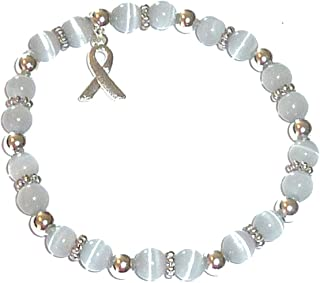 Cancer Awareness 6mm Beaded Stretch Bracelet, Show Support Fundraising Campaigns, Comes Packaged