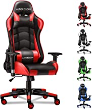 ALFORDSON Gaming Chair Racing Chair Executive Sport Regan Office Chair with PU Leather Armrest Headrest Home Chair in Red ...
