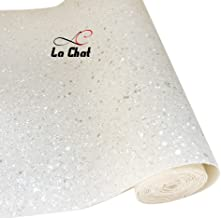 """La Chat 1 Roll 8"""" x 53"""" (21cm x 135cm) New Ultra Chunky Glitter Fabric Vinyl Sparkle Hexagon Faux Leather Bows Craft Bag Phone Cover Sewing Patchwork DIY Craft (White)"""