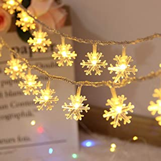 HONGMING Snowflake Lights,6M 40 LED Snowflake String Lights Battery Operated Waterproof Fairy Lights for Bedroom Patio Roo...