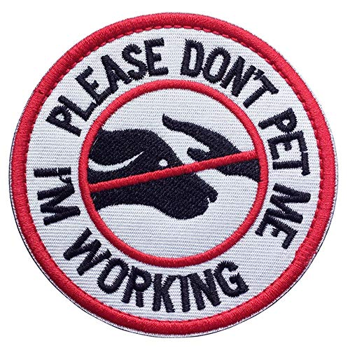 U-LIAN Service Dog Working Do Not Touch Military Tactical Morale Badge Hook Loop Fastener Patch - Please Do Not Pet Me Im Working - 3.15 Diameter Round(Service Dog-Red/White/Black)