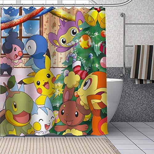 Brandless Pokemon Duschvorhänge Badezimmer Vorhang Stoff Waschbares Polyester für Badewanne Art Decor-180 cm x 220 cm