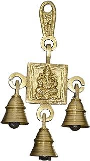 Indian Accent Ganesha Bells Brass Hanging Hindu God Bell Brass Statue,