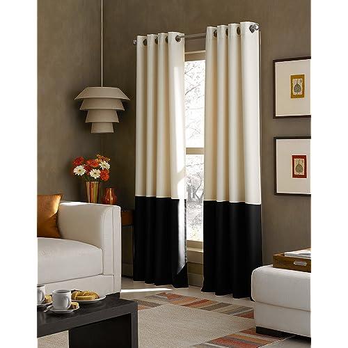 Cream and Black Curtains: Amazon.com