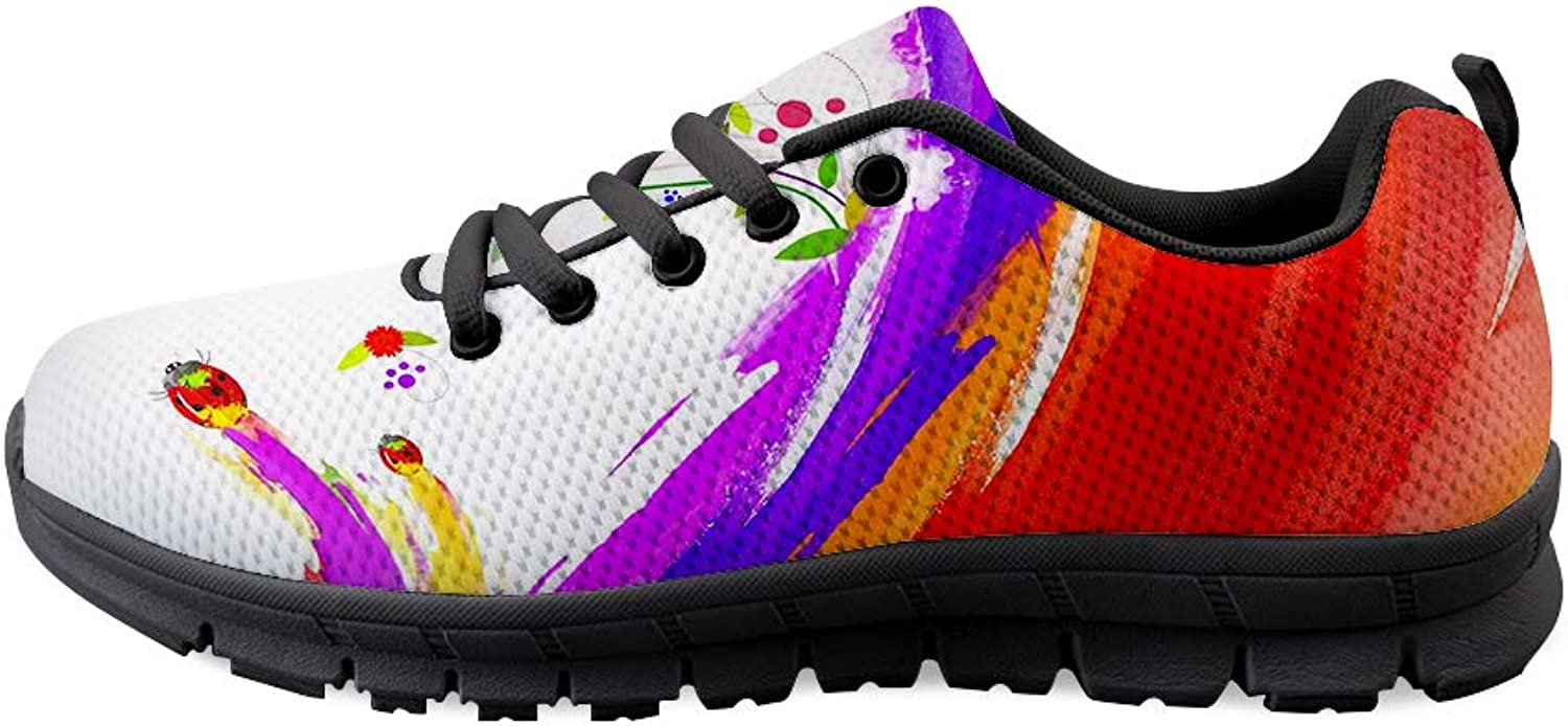 Owaheson Lace-up Sneaker Training shoes Mens Womens Ladybugs Flowers Holi colors Carnival