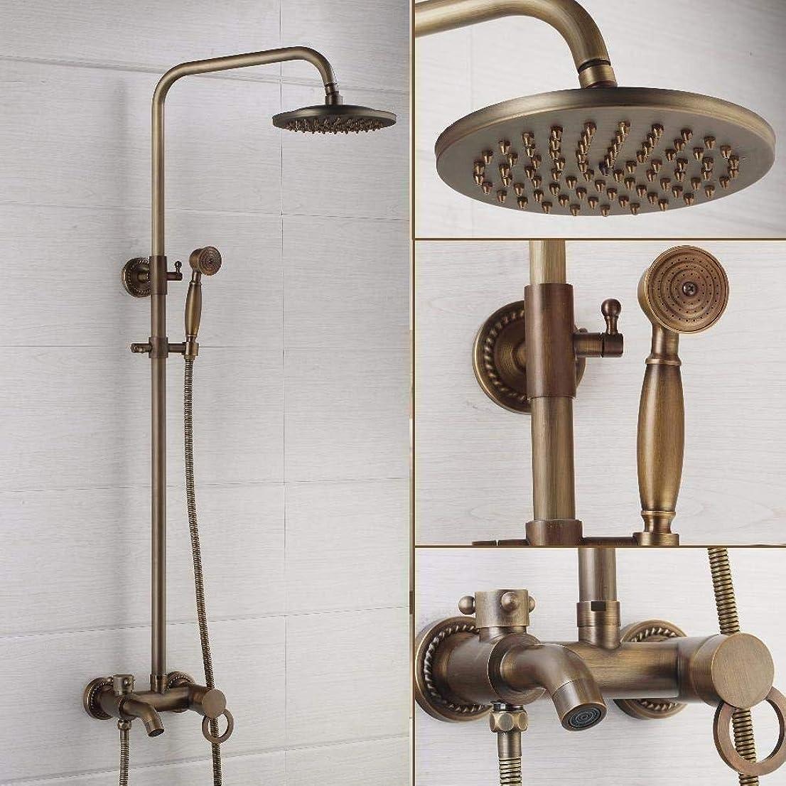 シーボードする人口レインシャワーシステム シャワーセットシャワーシステムアンティークの真鍮のシャワー蛇口セット8インチのシャワーヘッドハンドシャワースプレーウォールは、ミキサーのタップをマウント 高圧