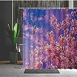 Duschvorhang 180X220 Pfirsichblüte Duschvorhang Anti-Schimmel & Wasserabweisend Shower Curtain, Duschvorhänge mit 12 Haken,Duschvorhang Textil Waschbar,Polyester