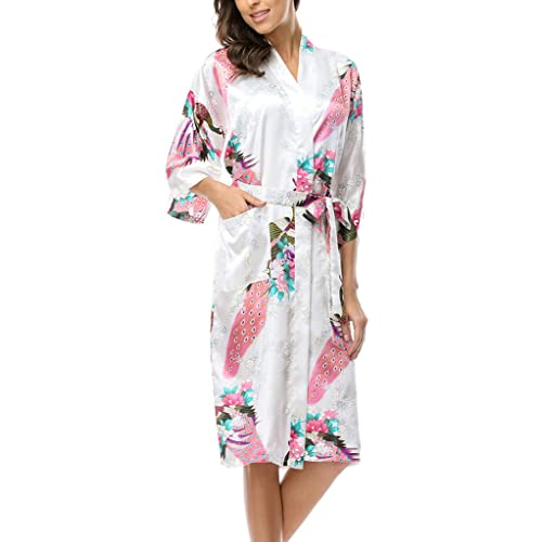 0d100ace50 BELLOO Ladies Silk Satin Dressing Gown Long Kimono Robe