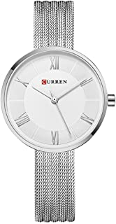 Curren 9020 Quartz Movement Round Dial Stainless Steel Strap Waterproof Women Watch - Silver/Gold