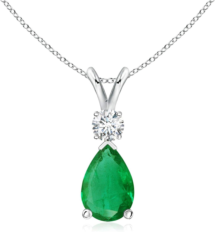 Emerald Teardrop Pendant Super intense SALE 9x6mm Diamond Selling with