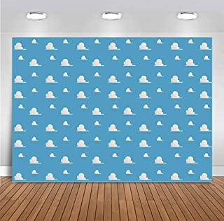 Toy Story Backdrops Photography for Newborn Baby Shower 9x6ft Blue Sky White Clouds Step and Repeat Photo Backgrounds Vinyl Children Birthday Decoration Party Banner Dessert Table Photo Booth Props