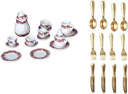 Preisvergleich für MagiDeal 1/12 Puppenhaus Küche Zubehör - Miniatur Edelstahl Geschirr Set + Porzellan Tee Set