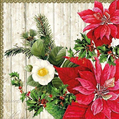 Ambiente Serviettes de table de Noël 33 cm Motif poinsettia sur bois FSC