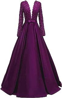 Deep V-Necked Long-Sleeved Ball Dress Lace Beaded Bridal Wedding Dresss