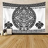 Lfeey Aztec Calendar Tapestry Black and White Vintage Mayan Old Sign Ancient Words Wall Hanging Polyester Fiber Art Blanket with Clip Hanger for Bedroom Living Room Dorm Home Decor 70.9'x47.2'
