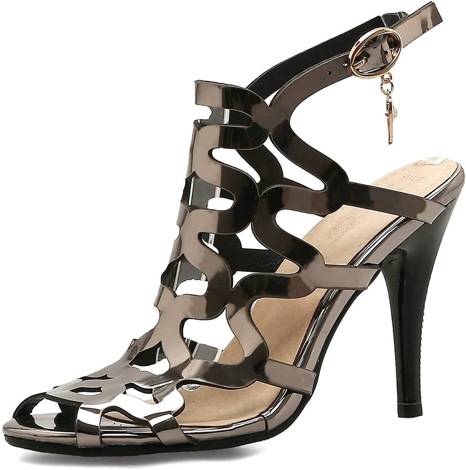 AnMengXinLing High Heel Gladiator Sandals for Women Leather Peep Toe Hollow Out Sexy Wedding Stilettos