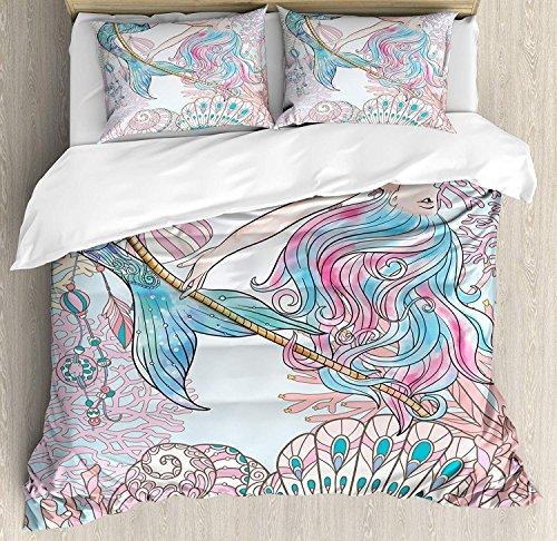 Conjunto de funda nórdica sirena, sirena de dibujos animados en sirenas marinas del mito griego humano humano con imagen de cola de pez, juego de cama de 3 piezas con fundas de almohada, rey azul rosa