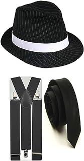 Nadelstreifen-Hut mit passenden Hosenträgern und Krawatte, im 1920-ern-Gangster-Stil, Party-Kostüm von Trilby Fedora Gr. Einheitsgröße, 3 PC Black Full Costume