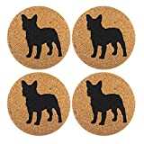 French Bulldog Dog Gift Cork 4 Pack Drink Coasters Set - Kitchen Bar Table Decor - Perfect Decoration for Frenchie Dog Lovers