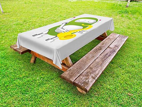 ABAKUHAUS Science Party Tafelkleed voor Buitengebruik, Robot spelen Sax, Decoratief Wasbaar Tafelkleed voor Picknicktafel, 58 x 84 cm, Pearl Lime Groen Geel