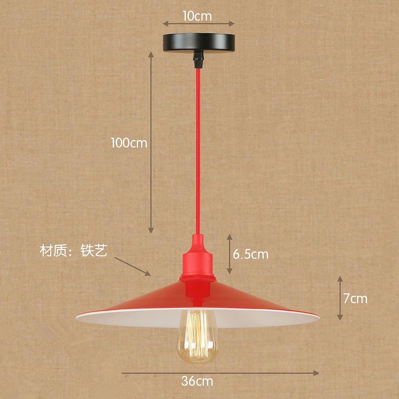 Lustres rouges simples simples modernes de fer, diamètre 36cm