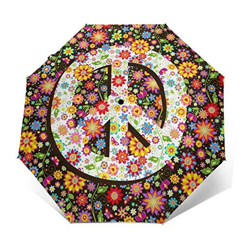 Regenschirm, Hippie-Blumen, Peace-Symbol, Winddicht, faltbar, Golf-Regenschirm, automatisches Öffnen und Schließen, leicht, automatisch, Winddicht, kompakt Hippie Blumen Peace Symbol Outer Print