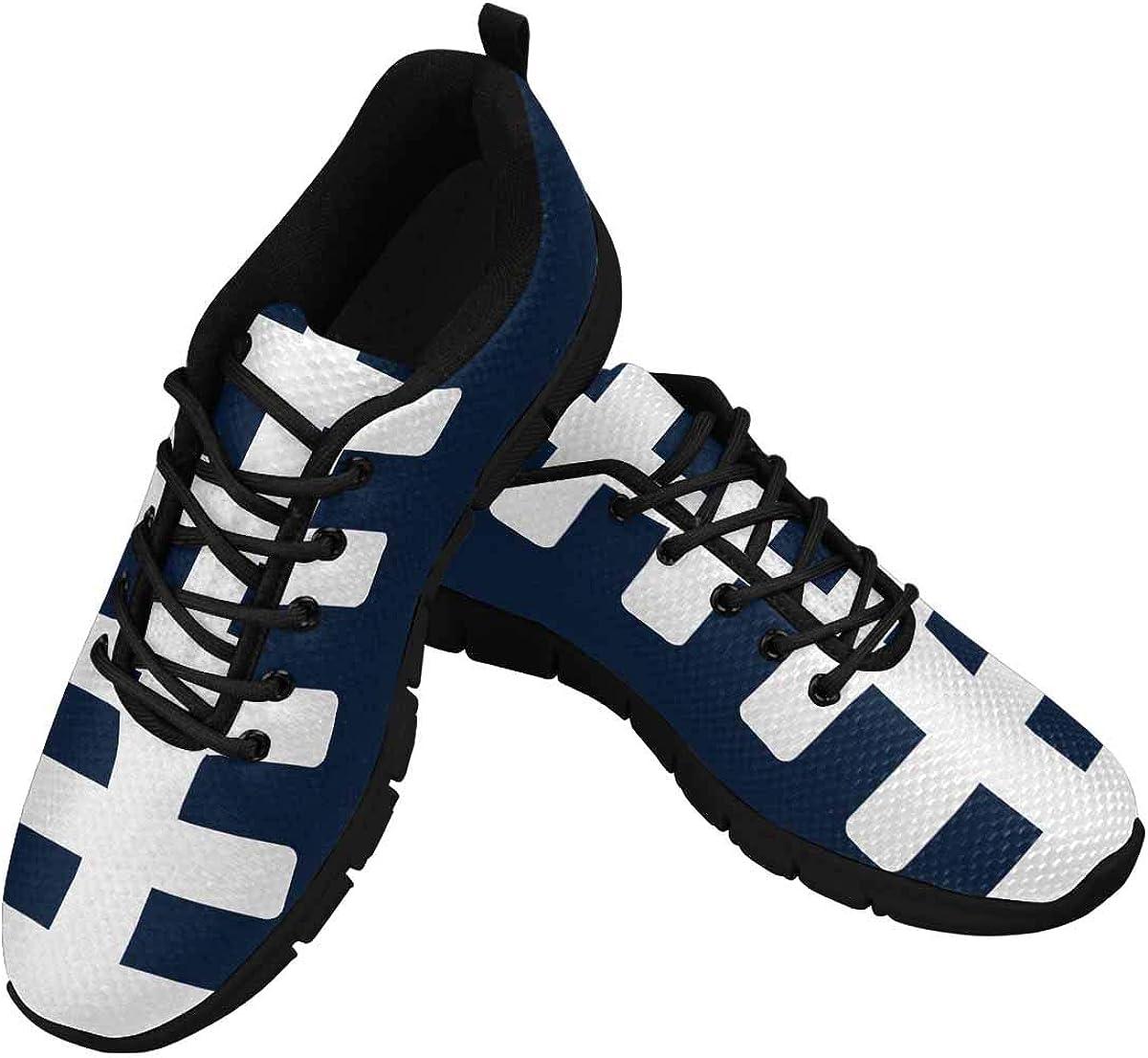 InterestPrint American Football Field Sports Navy Blue Women's Walking Shoes Lightweight Casual Running Sneakers