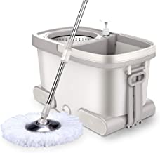JUAN 360° Super Spin Mop Spinning Mop Bucket Metal Rotating Cleaning & 5 Mop Heads, Mop Bucket 48x28x28cm,Mop Lever87cm-12...