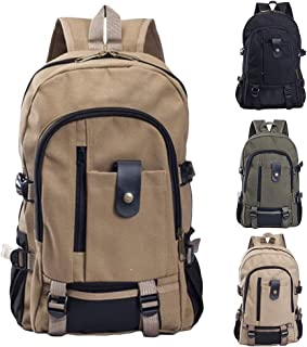 Canvas Backpack for Men, Casual Solid Color Zipper Rucksack Travel Canvas Bag Backpack Multicolor, Large Capacity, Durable