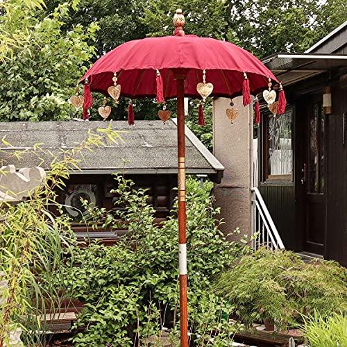 Oriental Galerie Bali Sonnenschirm Balinesischer Schirm Garten Baumwolle Sonnenschutz Handarbeit Retro Vintage Dekoschirm 2-teilig ca. 90 cm Rot Maron