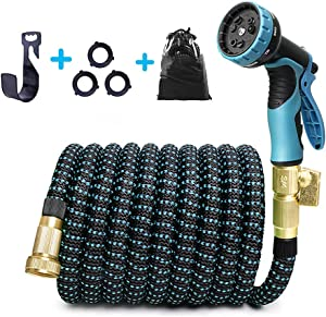 Water Hose 50 FT Expandable Garden Hose with 9 Function Spray Nozzle,Flexible Hose ¾ Inch Solid Brass Fittings 3-Layers Latex,Leakproof Lightweight Hose for Watering and Washing