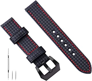 Watch Leather Band 20mm 22mm 24mm 26mm Large Leather Watch Band Black Leather Watch Band Strap Replacement Carbon Fiber Genuine for Men Compatible with Panerai