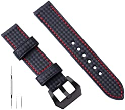 Watch Leather Band 20mm 22mm 24mm 26mm Large Leather Watch Band Black Leather Watch Band Strap Replacement Carbon Fiber Ge...