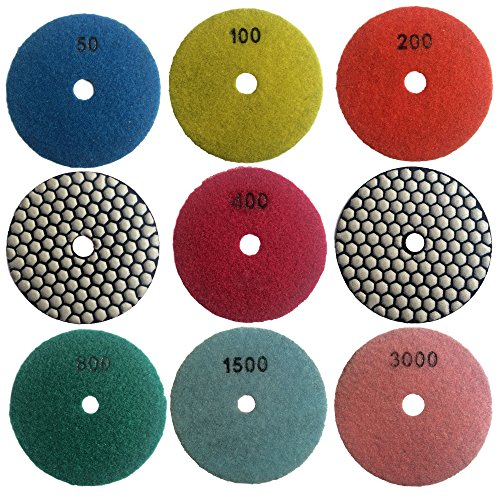 "Easy Light 4"" Dry Diamond Polishing Pads for Granite Marble Polisher (7 Pcs Set, Grit 50-3000)"