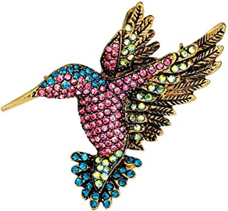 Women Sweater Broches Multi-Color Jewelry Bouquet Hummingbirds Pin Brooch