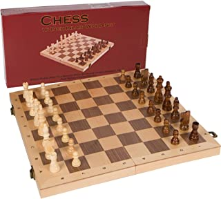 Alina Chess Inlaid Wood Folding Board Game with Ranks and Files Board, Large 16 x 16 Inch Set