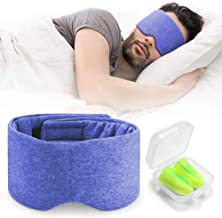 Handmade Cotton Sleep Mask - Nose Wing Design Sleeping Eye Mask Comfortable and Adjustable Blinder Blindfold Airplane with Travel Pouch - Night Companion Eyeshade for Men Women Kid (Blue)