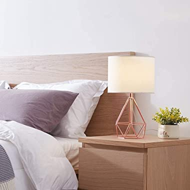 ZeroPlusOne® Modern Table Lamp, Diamond Metal Wire Cage Base E27 lamp Holder with Fabric Lampshade for Home Office Cafe Resta